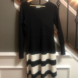 Black and off white A-line dress
